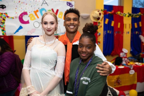 Students posing at international carnival event