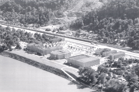 Historic aerial view of campus