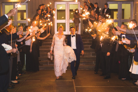 wedding event of bride and groom leaving ceremony