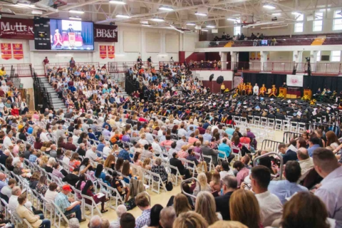 side view of graduation in the arena