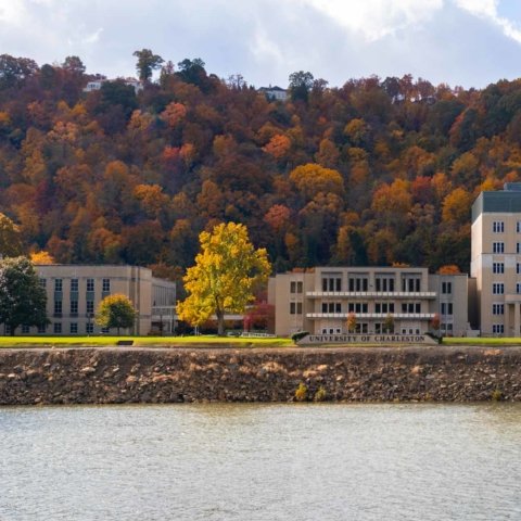 campus from the river during fall