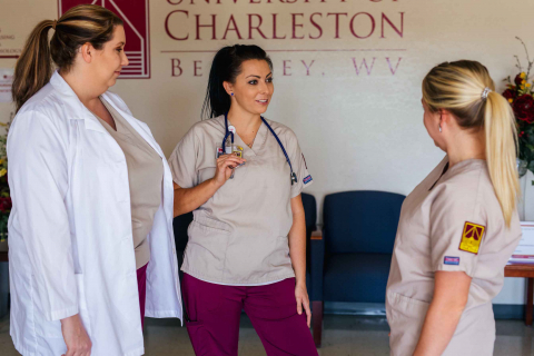 group of nursing students talking