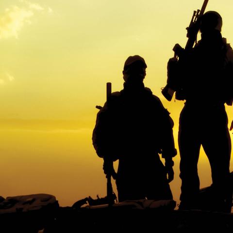 military members standing