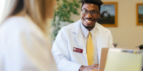 Pharmacy Student Smiling at second student